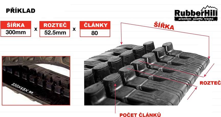 Jak poznat rozměr gumového pásu na bagr, minibagr